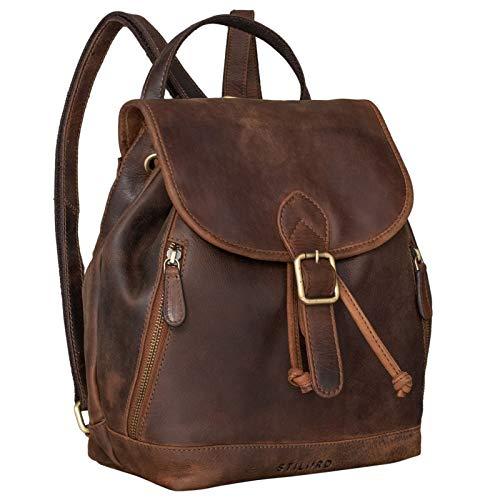 STILORD 'Allison' Rucksack Damen Modern Leder Vintage Daypack Klein Cityrucksack Rucksackhandtasche für Shopping Arbeit Reisen Echtleder, Farbe:Kansas - braun