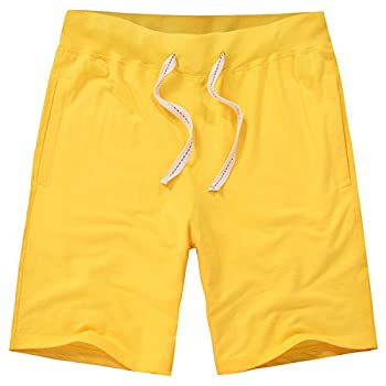Amy Coulee Casual Men Athletic Body-Build Elastic Cotton Shorts  M Yellow