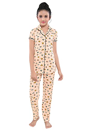 TUCUTE® Girl's Cotton Night Suit & Night Shirt| Front Open...