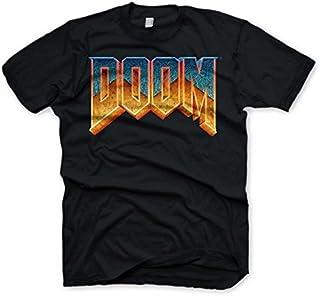 DOOM - T-shirt con scollo tondo, Uomo, Nero (Black), M