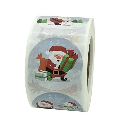 harayaa 500 piezas de etiquetas adhesivas de Feliz Navidad, pegatinas de vacaciones, rollo de etiquetas de regalo para sobres, sellos de tarjetas - 01