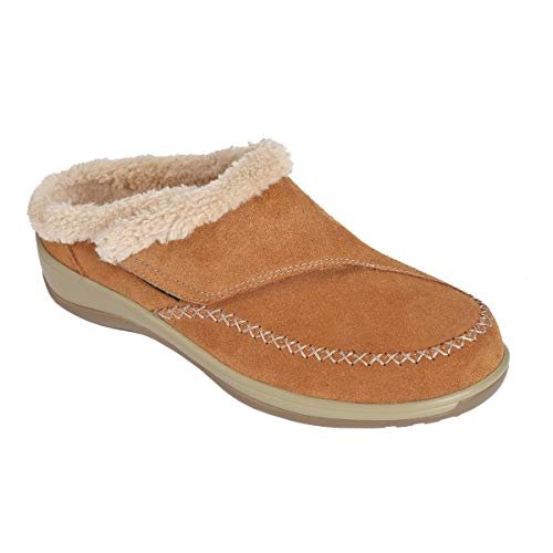 Orthofeet Proven Heel and Foot Pain Relief. Plantar Fasciitis Diabetic Orthopedic Leather Women's Arch Support Slippers Charlotte Tan