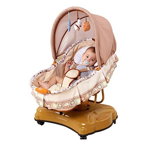 Columpio portátil Sillón Reclinable para Niños Mecedora Eléctrica para Bebés Tercera Sincronización de Marcha Swing de Seis Velocidades Rotación de 360 grados Adecuado para Recién Nacidos Hasta Niño