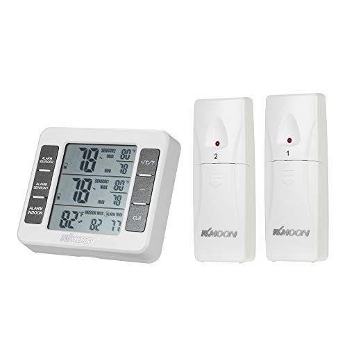 KKmoon Mini LCD Thermomètre Numérique+2 Capteurs Extérieurs, -40 ℃ ~ 60 ℃, Mesure ℃ / ℉, Affichage Max Min Value, Alerte de Température, Support Arrière, Trou de Suspension et Bâton Magnétique