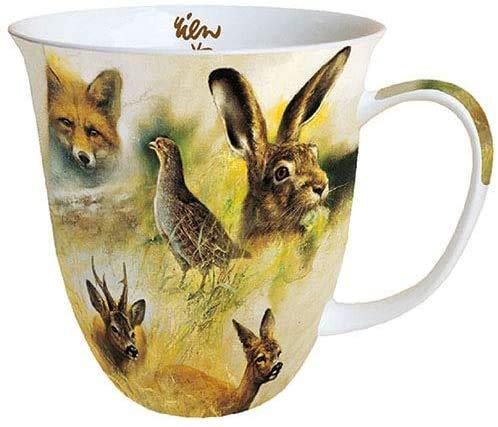 Ambiente Porzellan Becher Tasse Bone China Mug Hirsch Wild Animals Collage Fuer Tee Oder Kaffee ca. 400ml Herbst Winter Ideal Als Geschenk
