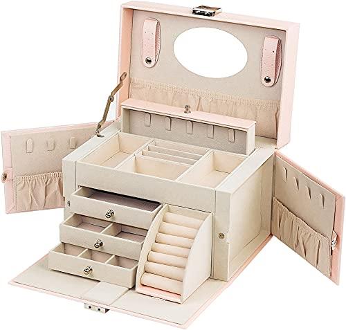 ADEL DREAM Portagioie grande con serratura a specchio, scatola per gioielli, per anelli, orecchini, regalo, grande, scatola portagioie con serratura (rosa)