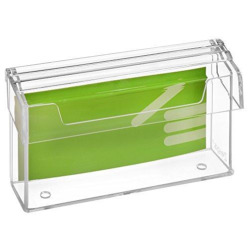 DIN Lang Prospektbox/Prospekthalter / Flyerhalter im Querformat, wetterfest, für Außen, mit Deckel, aus glasklarem Acrylglas - Zeigis®