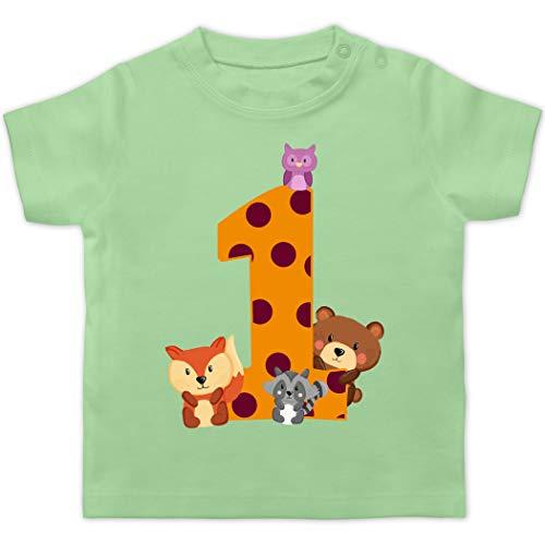 Geburtstag Baby - 1. Geburtstag Waldtiere - 12/18 Monate - Mintgrün - Kindergeburtstag 1 Jahr mädchen - BZ02 - Baby T-Shirt Kurzarm