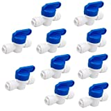 PureSec 2020 Straight Inline Ball Valve 1/4-inch Tube O.D.Push to Connect Plastic Hand valve for RODI System(10 Pack)