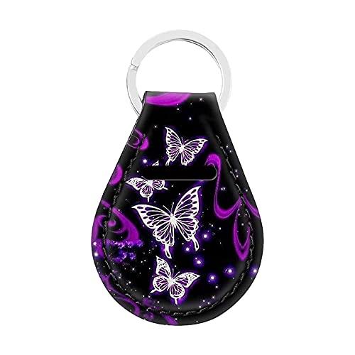 Jeiento Schlüsselring-Halter mit Schmetterling, langlebig, flach, für Namensschilder, Schlüsselanhänger, Kamera, Handy, USB-Stick, Automobil, Violett