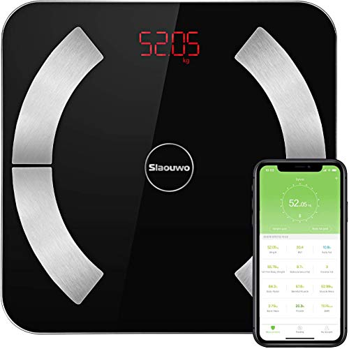 Körperfettwaage, Slaouwo Personenwaagen Digital Bluetooth Personenwaage mit APP, Analysator überwacht BMI Muskelmasse, Zusammensetzung hochpräzise Anzeige, 28st / 180kg / 400lb, Schwarz (Brown)