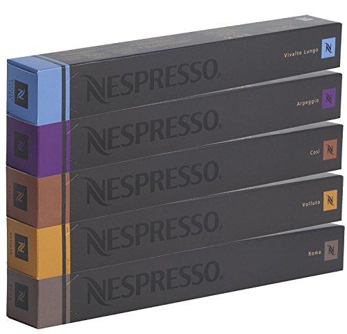 Nespresso Sortiment, 50Kapseln originali- 10x Cosi, 10x Arpeggio, 10x Roma, 10x Vivalto Lungo, 10x Volluto