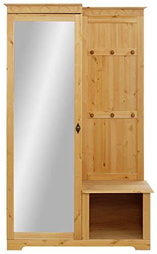 Loft 24 A/S Flurgarderobe Wandgarderobe Kompaktgarderobe 1 Spiegeltür Massivholz Kiefer Flur Diele 110 x 45 x 181 cm (gebeizt geölt)