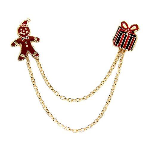 Xiton Weihnachtsbrosche Lebkuchen-Mann-Geschenk-Box Kette Schmuck Breastpin Broschen Ketten kreatives Design Brosche Frauen Schmuck Geschenk