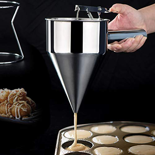 HITECHLIFE Embudo para hornear de acero inoxidable, postre profesional para hacer pasteles, dispensador de masa para gofres y panqueques, máquina Takoyaki, máquina para hacer bolas de pulpo