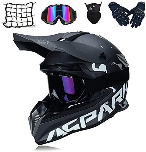 Crosshelm Fullface Set mit Visier Brille Handschuhe Maske Motorrad Netz,Kinder Erwachsene Downhill BMX MTB Helm Motorradhelm Herren für Quad ATV Enduro Sport Schwarz (S)