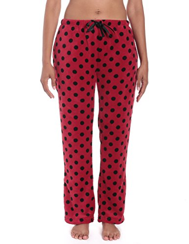 Fleece Pajama Pants for Women - Plush Lounge Pants - Polka Dots - Red/Black - L