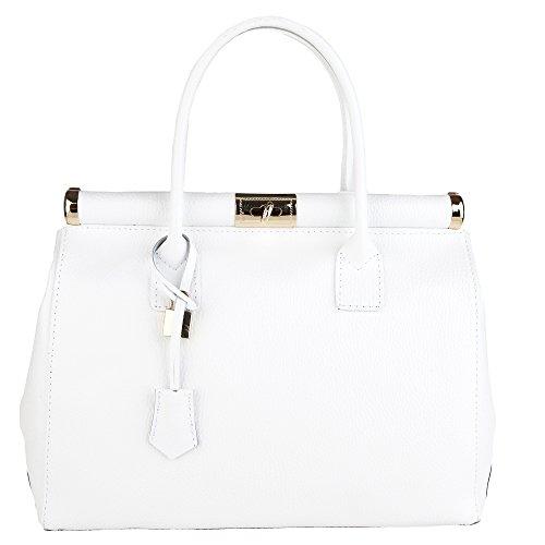 Chicca Borse Handbag Borsa a Mano da Donna con Tracolla in Vera Pelle Made in Italy 35x28x16 Cm