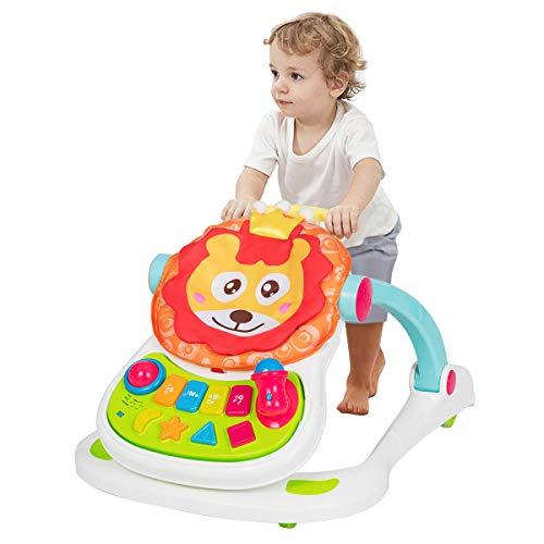 COSTWAY 4 en 1 Andador Convertible para Bebé con Tablero de Juego Extraíble y Asiento Altura Ajustable para Caminar Comer Jugar para Bebés Mayores de 6 Meses