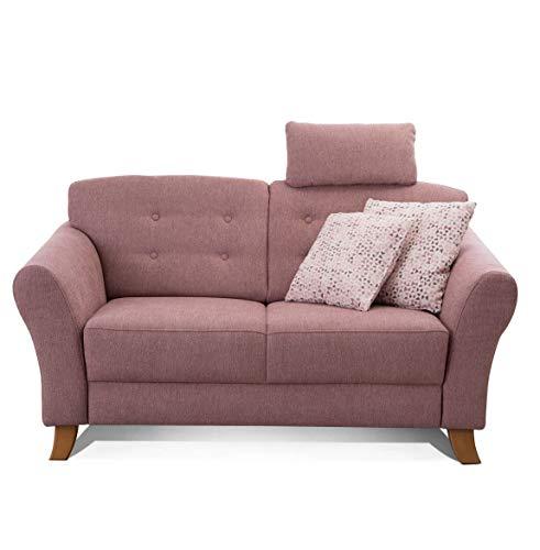 Cavadore 2-Sitzer-Sofa / Moderne Couch im Landhausstil mit Knopfeinzug im Rücken / Federkern / Inkl. Kopfstütze / 163 x 89 x 90 / Flachgewebe rosa