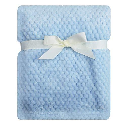 Warm Polar Fleece Throw Over Soft Luxury Sofa Bed Blanket, Flannel Fleece Plain Blanket Waffle Fluffy and Fuzzy Plush Throws Mink Warm Coverlets (King - 200x240cm, Blue)