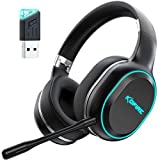 KOFIRE UG-05 Wireless Gaming Headsets with Dual Microphone for PS4 PS5 PC, 30H Playtime 3D Vibration Low-latency Over Ear Headphone with V5.0 USB Adapter RGB Light, Soft Earmuffs Surround Stereo Sound