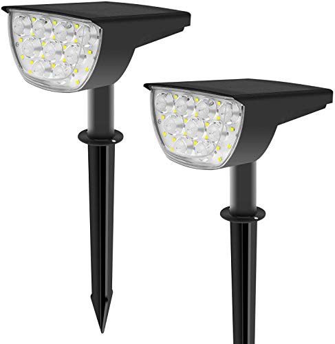 30 LEDs Solar Landscape Spotlights, Wireless Waterproof Solar Powered Landscaping Lights Outdoor, Solar Powered Wall Lights for Garden Yard Driveway Porch Walkway, Warm White 2Pack