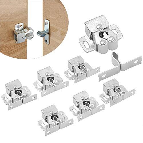 cococity Möbelschnäpper Rollenschnäpper Kugelschnapper Tür-Verschluss zum Schrauben 6 Stück Silber für Schrank Kleiderschrank Tür Ball