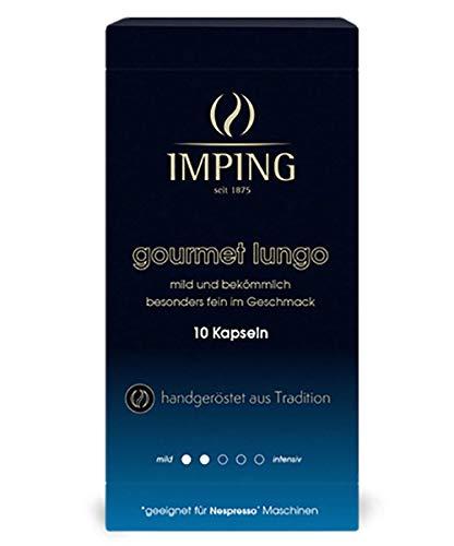 Gourmet Lungo Kapseln - 100 milde Kaffeekapseln für Nespresso® - 10 x 10er Pack - Stärke 2/5 - 100% Arabica - Feiner milder Kaffee handgeröstet aus deutscher Traditionsrösterei