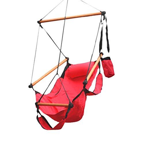 flexzion cuerda hamaca Air Deluxe Sky Swing exterior asiento madera maciza 250lb con brazo almohada Detención y reposapiés Bebida Soporte Para Muebles De Jardín Camping, Viajes Porche Lounge