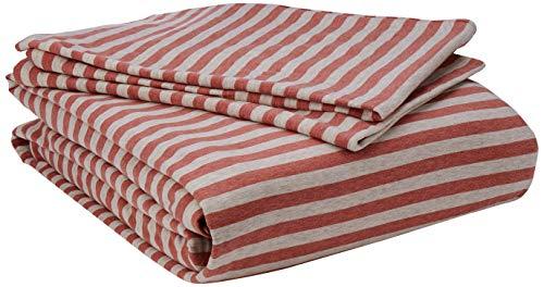 AmazonBasics - Set copripiumino in tessuto Jersey, motivo a strisce - 260 x 220 cm / 50 x 80 cm, Rosso chiaro