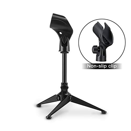Moukey Desk Mic Stand Universal Adjustable Desktop Microphone Stand Portable Foldable Tripod Mic Table Stand with Small Plastic Microphone Clip For Sm57 Sm58 Sm86 Sm87 Blue YetiBlue Snowball iCE