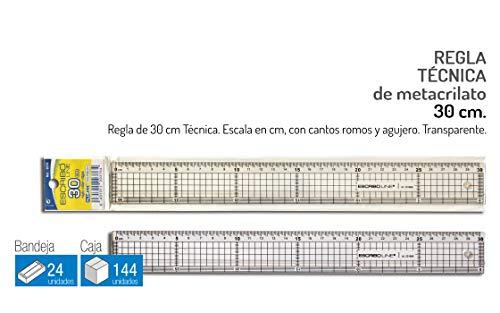 2 Reglas Técnicas de 30 cm - Escala en cm - Color: Transparente - Cantos Romos - Agujero para colgar