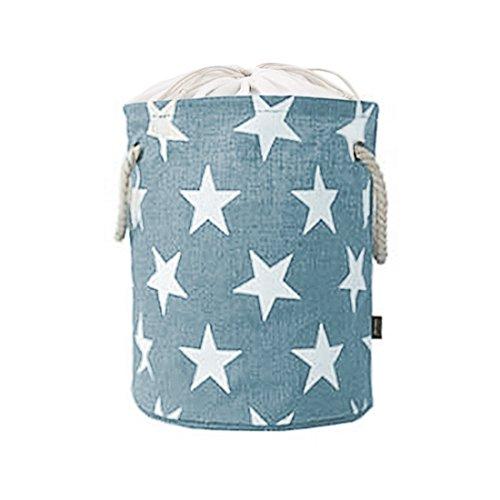 GWELL Faltbar Wäschekorb Sterne Leinen Wäschesammler Aufbewahrungskorb mit Tunnelzug Aufbewahrungsbox Eimer für Kinderzimmer Schlafzimmer