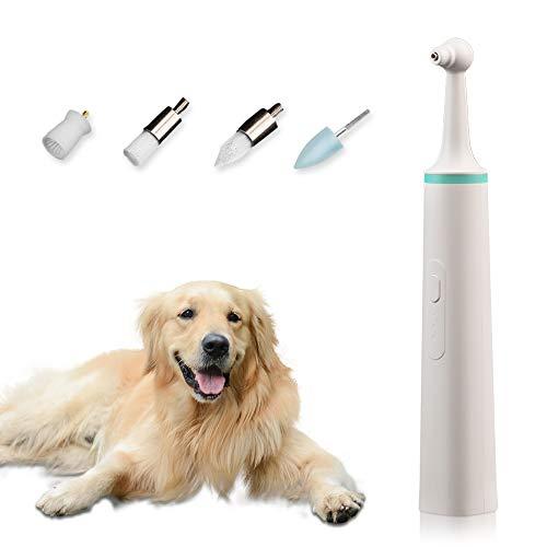 Porcyco Pulidora de Dientes eléctrica para Perros, Kit de Limpieza para Dientes de Mascotas con 4 Cabezales de Cepillo, Limpiador de Manchas para Dientes de Perros