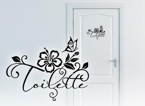 Grandora W3003 WC Türaufkleber Wort Toilette + Hibiskusblüte und Schmetterling Wandtattoo Bad schwarz