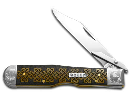 CASE XX Celtic Knot Antique Bone Cheetah Scrolled 1/200 Stainless Pocket Knife Knives