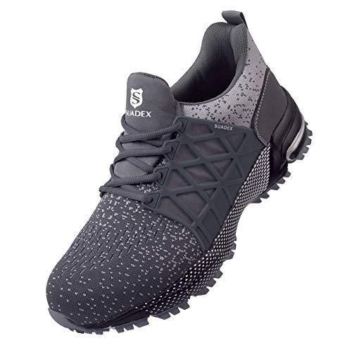 SUADEX Zapatos de seguridad para hombre y mujer, ligeros, deportivos, transpirables, antideslizantes, con puntera de acero, 37-48 EU, color Gris, talla 42 EU