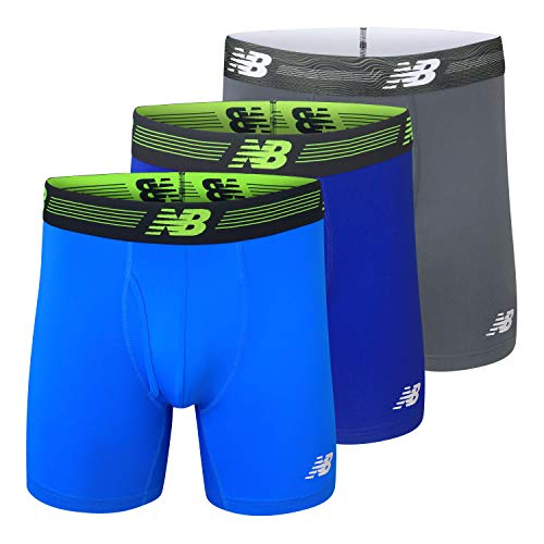 New Balance Men's 6' Boxer Brief Fly Front with Pouch, 3-Pack of 6 Inch Tagless Underwear (Team Royal/Lead/Bolt, XX-Large (44'-46'))