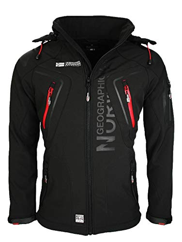 Geographical Norway Techno Softshelljacke Herren Kapuze abnehmbar, Schwarz, XL