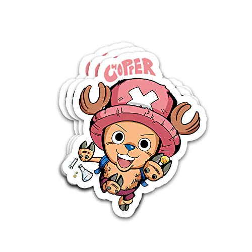 Bowersk Choppers Straw Hat Crew Fictional Character Excited Expression Hold Rumble-Ball Fan Arts Stickers for Laptops Tumblers Books Luggages Cases Pack 3x4 in Vinyl 3pcs/Pack