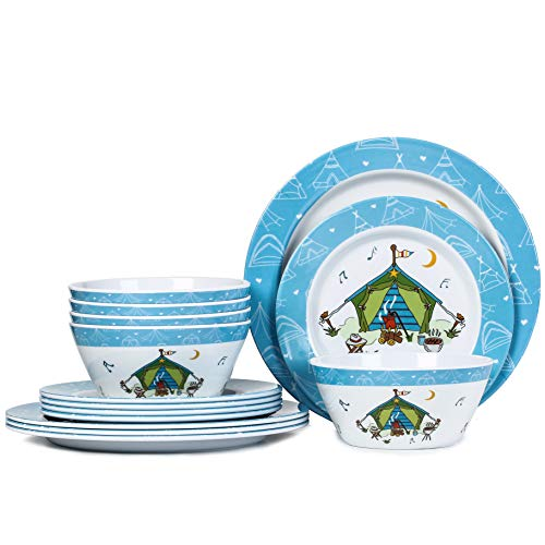 Camping Dishes-12pcs Melamine Dinnerware Set, Camping Picnic RV Use,Dishwasher Safe, Unbreakable