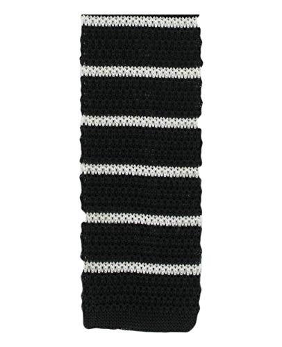 Michelsons of London Noir/Blanc soie tricoté rayé maigre cravate de