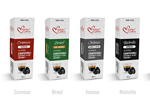 Italian Coffee capsules compatible with Starbucks Verismo, CBTL, Caffitaly, K-fee systems (Sampler, 4 flavors, 40 pods tot., No decaf)