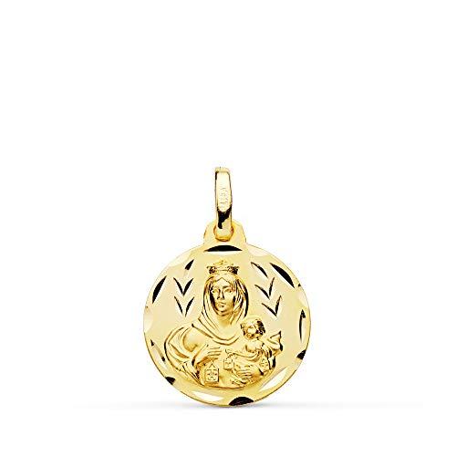 Medalla Escapulario V. Carmen y C. Jesús Oro 18 Kilates Tallado 16mm