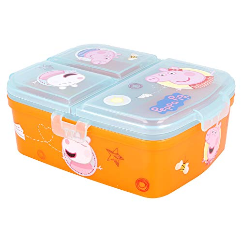 Stor Peppa Pig |Sandwichera con 4 Compartimentos - Tupper Infantil - Fiambrera Decorada para Niños