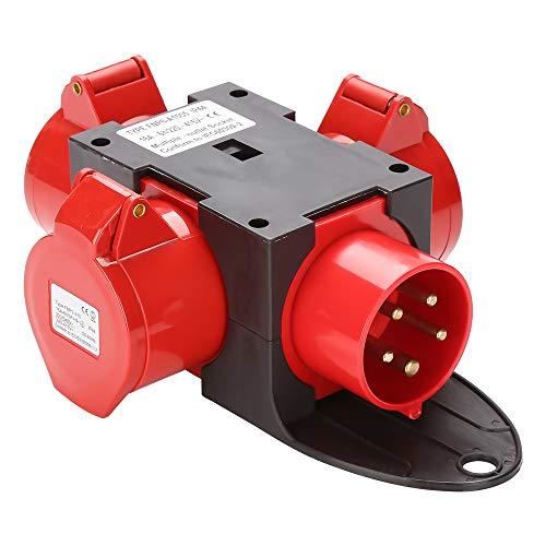 wolketon Stromverteiler 3 x CEE 400V/16A 5 Polig CEE-Steckdose IP44 Spritzwassergeschützt Mit Sicherheitsklappdeckeln Für Baustelle