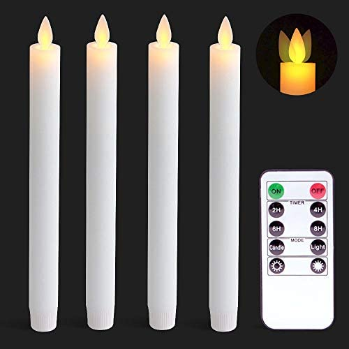 Wondise White Flameless Taper Candles Battery Operated with Remote and Timer Moving Wick Unscented product image
