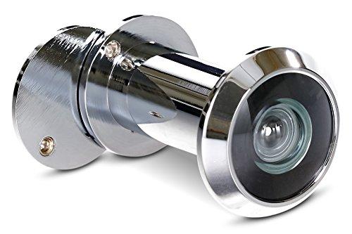 Stoppwerk Türspion 200° Weitwinkel mit Sichtschutz - Chrom Optik - Bohrloch Ø 16mm - Spion für 35-55mm Türblätter - Hochwertige Echtglaslinse