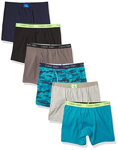 Calvin Klein Boys Underwear Cotton Boxer Briefs, 6 Pack, Castlerock Grey/Moon Blue/Black Iris/Camo/Heather Grey/Black, S